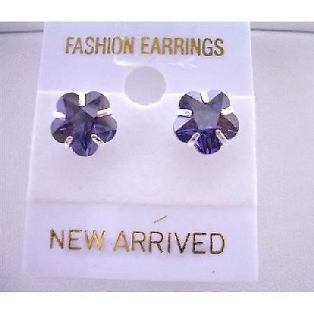 Tanzanite Flower Cubic Zircon Stud Earrings Surgical Post Earrings