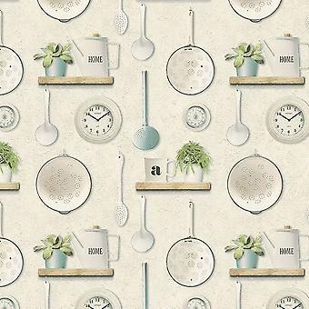 Kitchen Utensil Wallpaper Flowerpots Bathroom Washable Vinyl Cream Green Grey