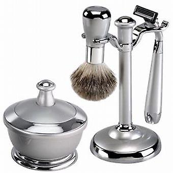 Famego Silver Metal Finish Effect Shaving Set With Mirror Shaving Bowl