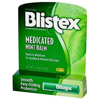 Blistex medicated mint balm, lip protectant/sunscreen, spf 15, 0.15 oz