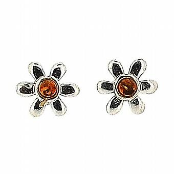 The Olivia Collection Sterling Silver Flower Cognac Amber Stud Earrings
