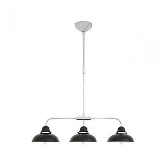 Premier Home Jasper Pendant Light, Chrome, Stainless Steel, Black