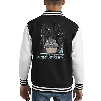 Winter Is Here My Neighbor Totoro Game Of Thrones Kid's Varsity Jacket