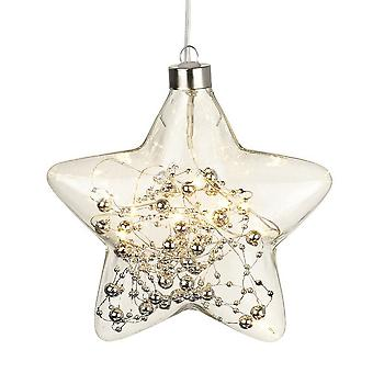 Light Up Beads Hanging Glass Star Decoration