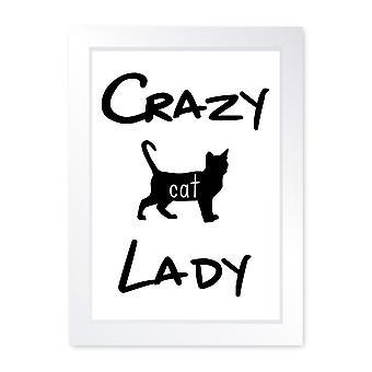 Crazy Cat Lady, Quality Framed Print - Kitchen Living Room House Art