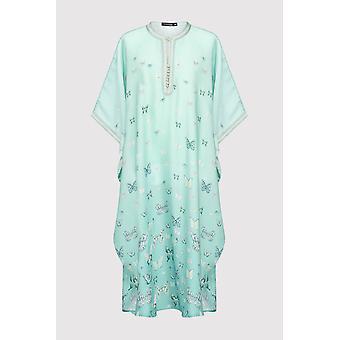 Gandoura dara girl-apos;s short sleeve collarless butterfly print maxi robe en vert clair (2-12 ans)