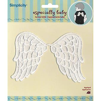 Wrights Especially Baby Iron On Appliques White Angel Wings 6
