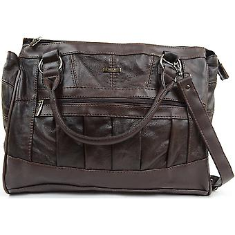 Ladies / Womens Leather Practical Handbag / Shoulder Bag with Detachable Strap - Black