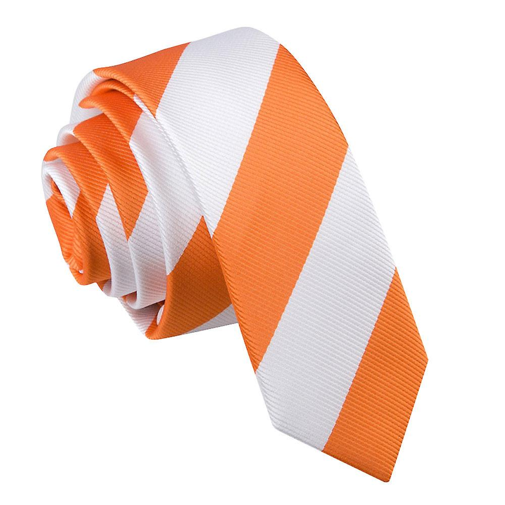 Striped Orange & White Skinny Tie