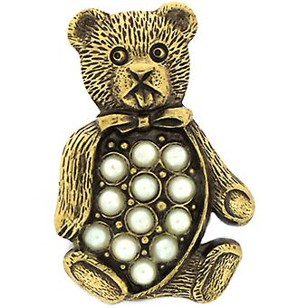 Cavendish French Small Antique Gold & Austrian Crystal Teddy Bear Lapel Pin