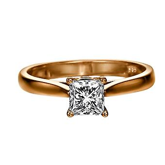 0.6 Carat F SI1 Diamond Engagement Ring 14K Rose Gold Solitaire Classic Cathedral