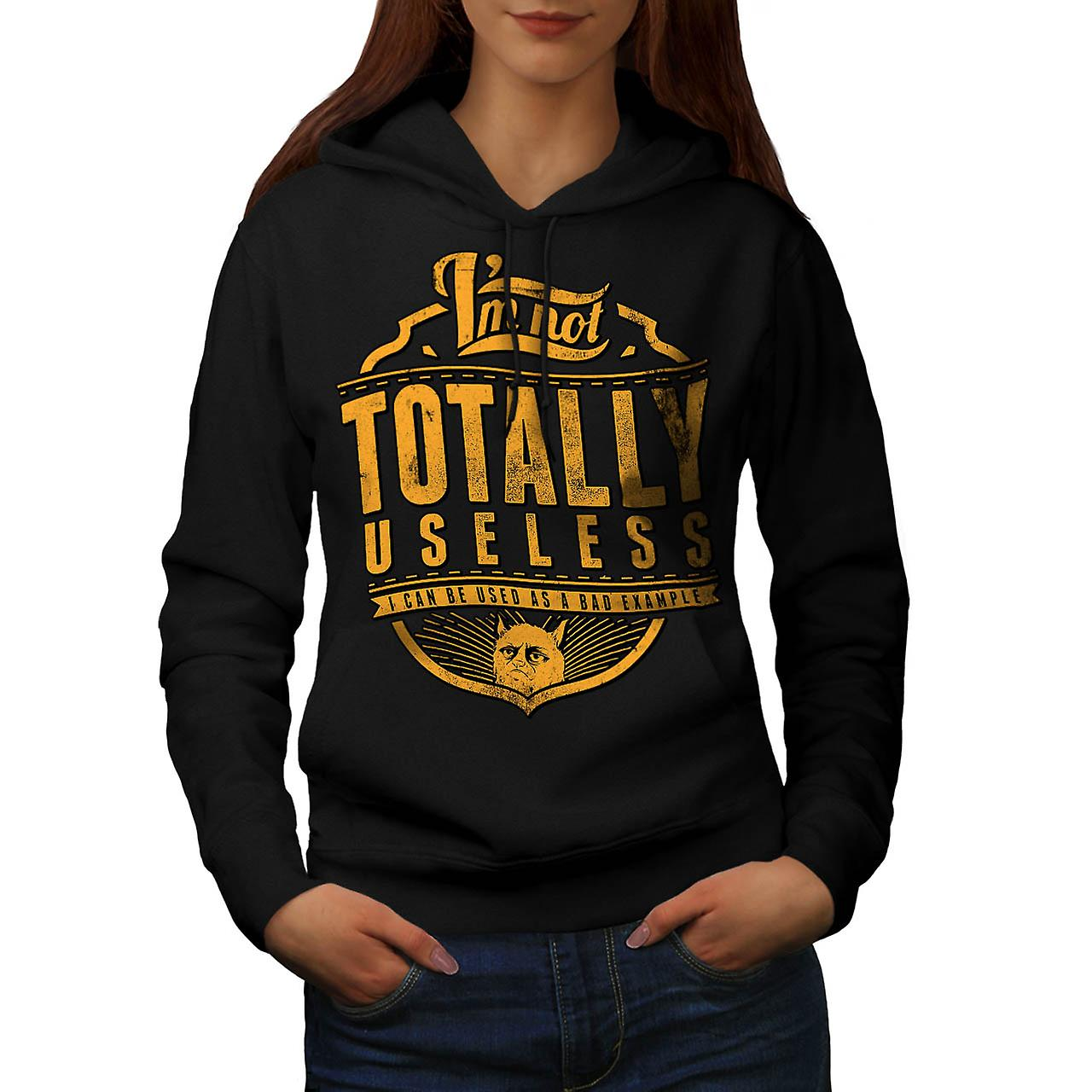 Grumpy Cat Useless Bad Example Women Black Hoodie | Wellcoda