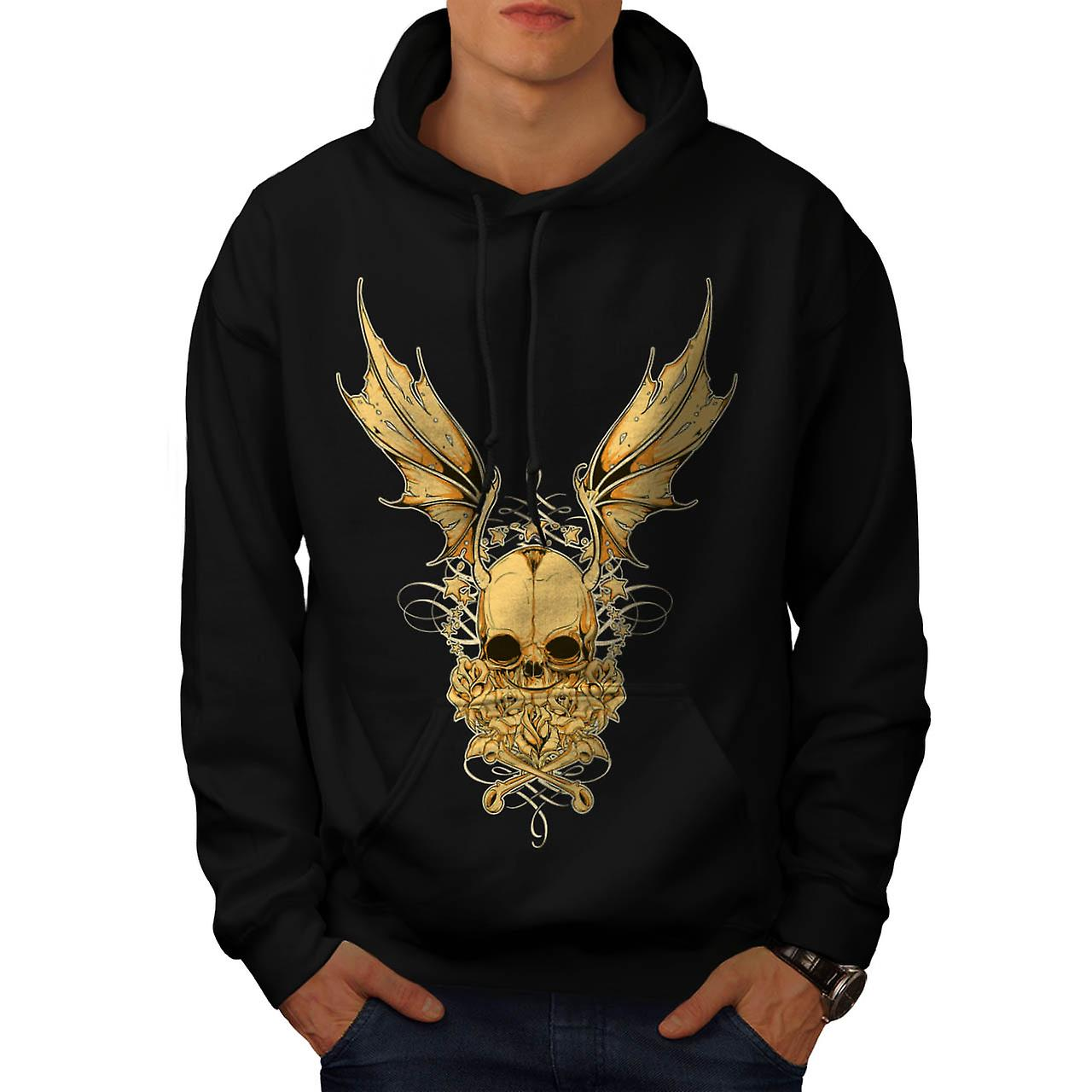 Evil Horror Skull Fly Devil Wing Men Black Hoodie | Wellcoda