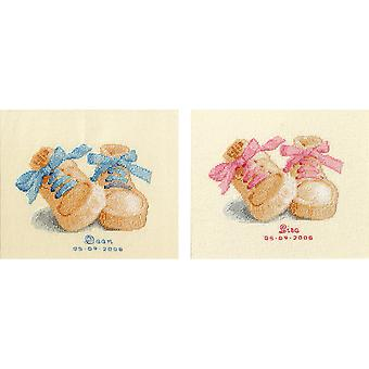 Baby Boots Birth Record On Aida Counted Cross Stitch Kit-7.6