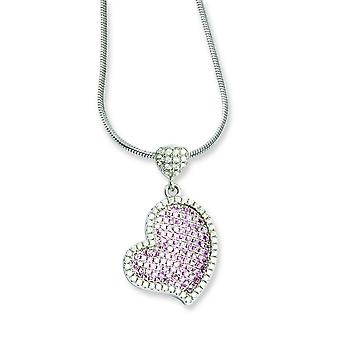 Sterling Silver Pave Rhodium-plated Lobster Claw Closure and Cubic Zirconia Brilliant Embers Heart Necklace - 18 Inch
