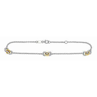 925 Sterling sølv 14K gull-blinket gull Rhodium rolo Chain anklet ringer pære form låsen-10 tommer