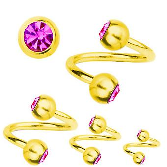 Spiral Twist Piercing Gold Plated Titanium 1,6mm, SWAROVSKI ELEMENTS Pink | 8-12 mm