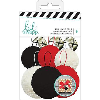 Heidi Swapp Gift Wrapping Embellishments Kit-Pop Poms & Bells 9 Pieces HS313229