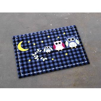 Dirt trapping pad mat Karo owls night stained dark blue 50 x 70 cm | 101923