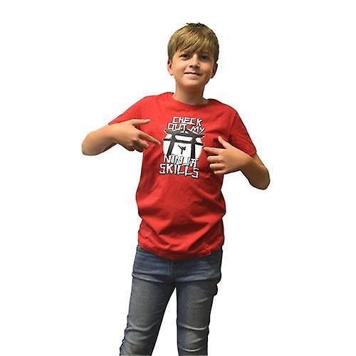 Digital Dudz Kids Unisex Moving Ninja Skills Digital T-Shirt L Red DDKTNSL-L