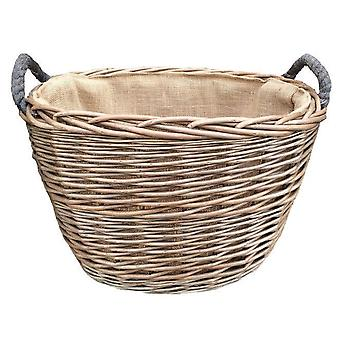Medium Oval Hessian Lined Log Basket