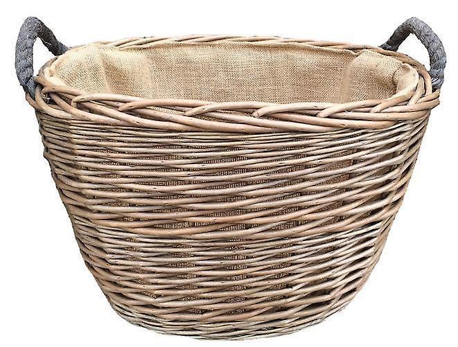 Mittlere Oval hessischen Liniertes Log Basket