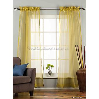 Olive Gold - Rod Pocket Sheer Tissue Curtain Panel Drape - Piece