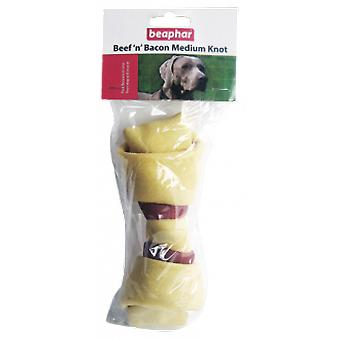 Beaphar Knotted Bone Beef and Bacon Medium (Hunde , Snacks , Knochen)
