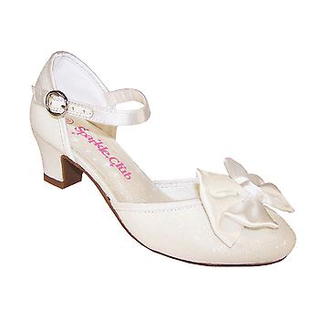 Girls ivory bridesmaid flower girl low heeled shoes