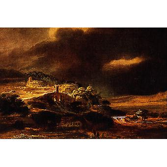 Rembrandt Harmenszoon van Rijn - Stormy Landscape Poster Print Giclee