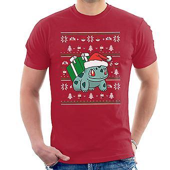 Christmas Bulbasaur Knit Pattern Pokemon Men's T-Shirt