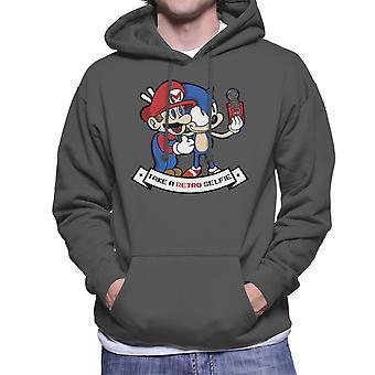 Retro-Selfie Sonic und Mario Männer die Kapuzen-Sweatshirt