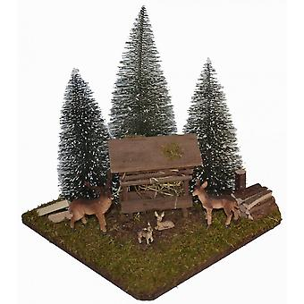 Nativity accessories Christmas Nativity stable feeding place with fir trees and deer