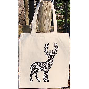 Stamped Canvas Tote To Color-Reindeer 98107T