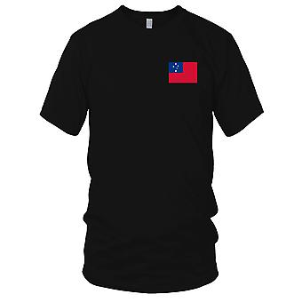 Samoa Country National Flag - Embroidered Logo - 100% Cotton T-Shirt Mens T Shirt