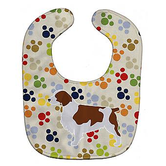 Carolines Treasures  BB6305BIB Welsh Springer Spaniel Pawprints Baby Bib