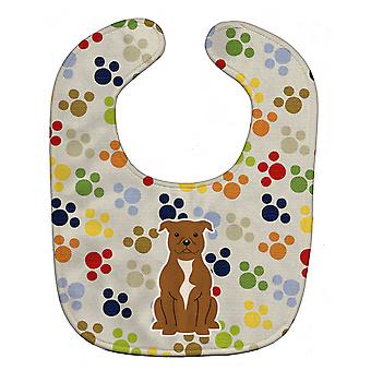 Pawprints Staffordshire Bull Terrier Brown Baby Bib