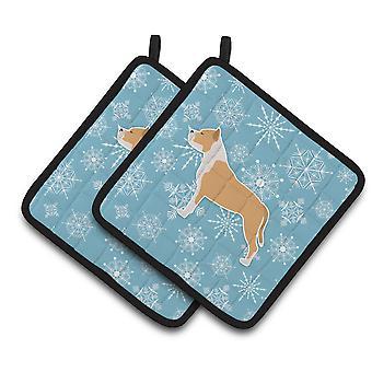 Winter-Schneeflocke Staffordshire Bullterrier paar Topflappen