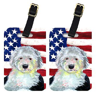 Pair of USA American Flag with Old English Sheepdog Luggage Tags