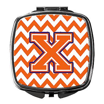 Letter X Chevron Orange and Regalia Compact Mirror