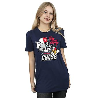 Tom And Jerry Women's Cat & Mouse Chase Boyfriend Fit T-Shirt