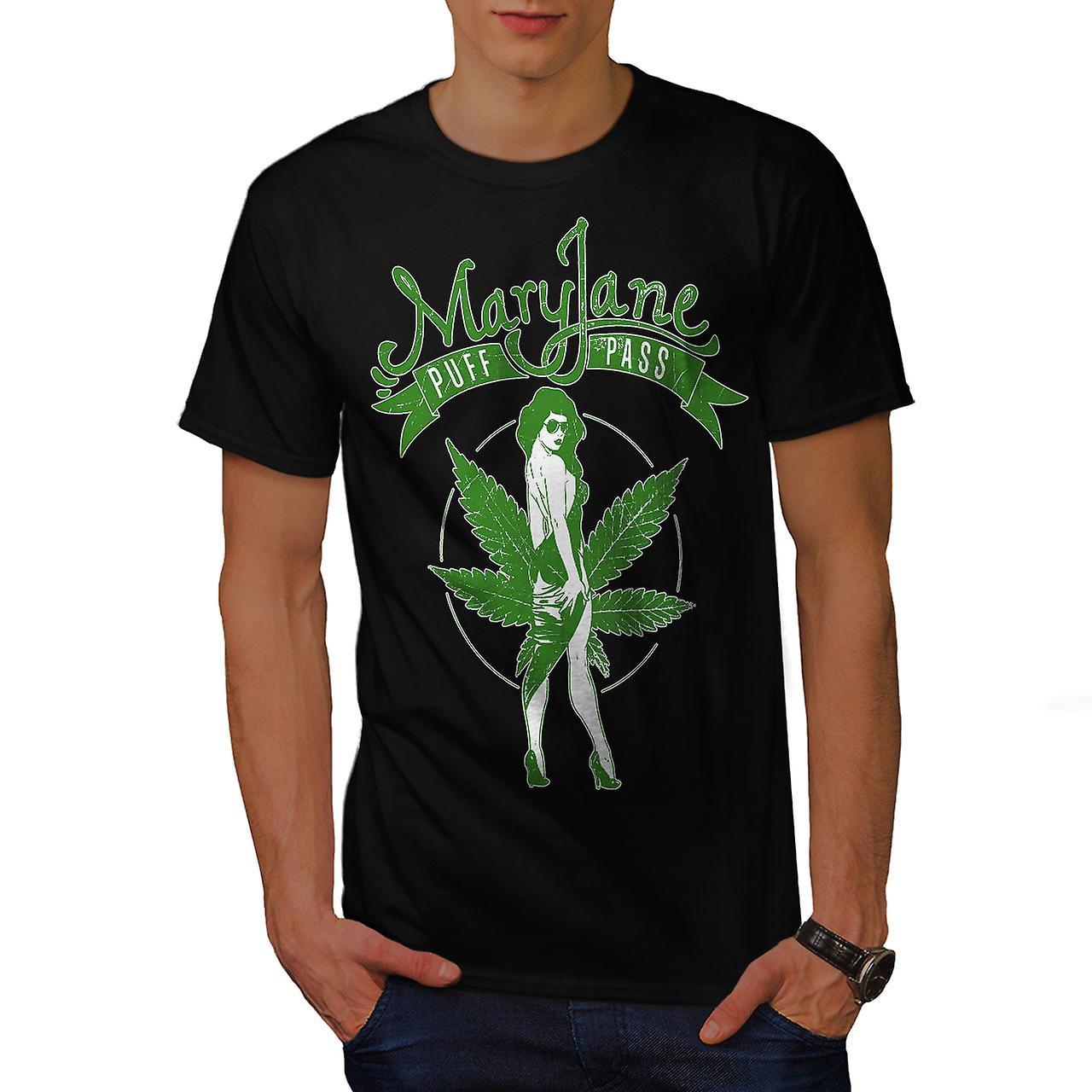 Weed Puff Pass Mary Men Black T-shirt | Wellcoda