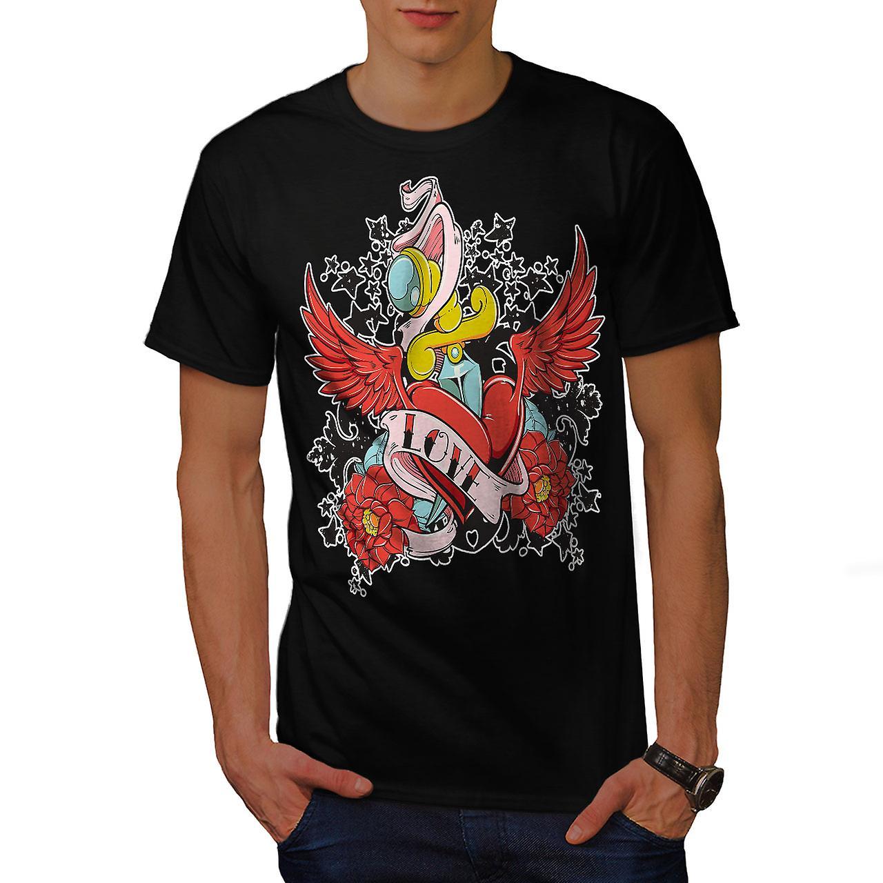 Love Hurts Rose Vintage Men Black T-shirt   Wellcoda
