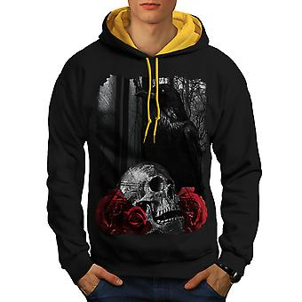 Crâne Rose Raven Art hommes noir (capot or) contraste Hoodie   Wellcoda