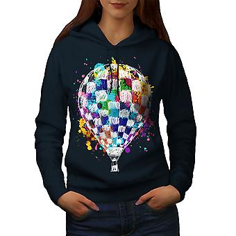 Air Balloon Journey Women NavyHoodie | Wellcoda