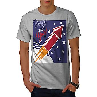 GreyT-camisa de los hombres felices fuegos artificiales año nuevo | Wellcoda