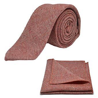 Highland Weave Stonewashed Brick Red Tie & Pocket Square Set