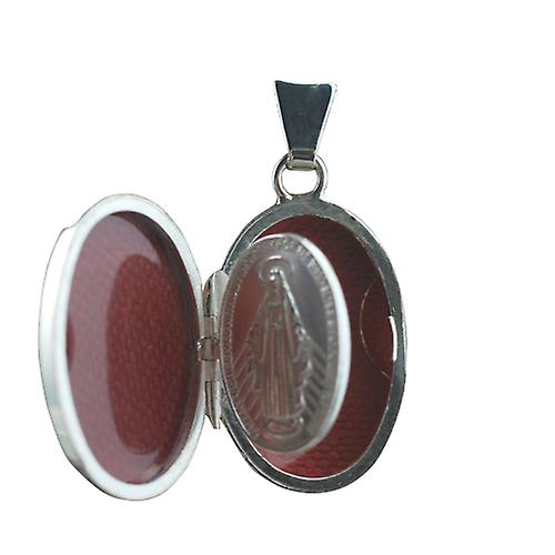 Silver 22x15mm half hand engraved Miraculous Medal Locket