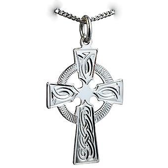 Sølv 28x20mm hånd gravert knute design keltisk kors med en fortauskant kjeden 22 inches