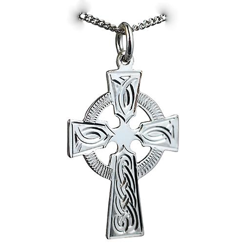 Silver 28x20mm hand engraved knot design Celtic Cross with a curb Chain 18 inches